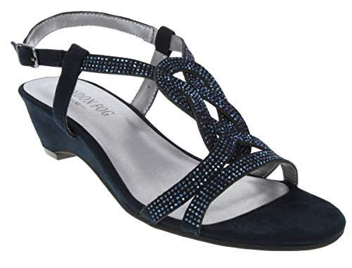 LONDON FOG Womens Macey Demi-Wedge Dress Sandals Navy 8 M US