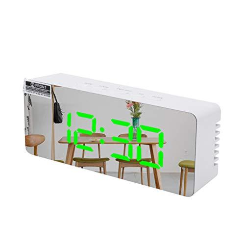Reloj despertador digital con espejo LED para mesita de noche, funciona con pilas, reloj despertador con superficie de espejo, reloj digital para dormitorio, hogar, oficina, cocina