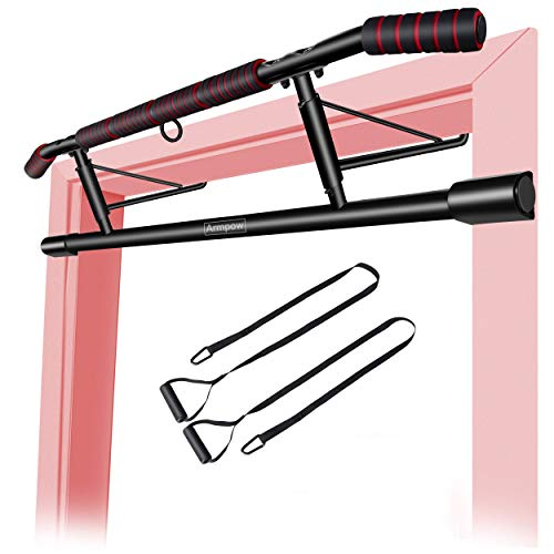 Armpow Pull up Bar for Doorway Home Gym Pull-up Bars Workout Pullups Bar with Shortened Upper Handle Bar No Screws with Extra Straps