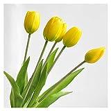 DXM Künstliche Blumen, hochwertige künstliche weiche Gummi-Tulpen, Bunte Tulpen für Hochzeit, Zuhause, und Hotel Hochzeitsdekoration Blumen (gelb) (Color : Yellow)