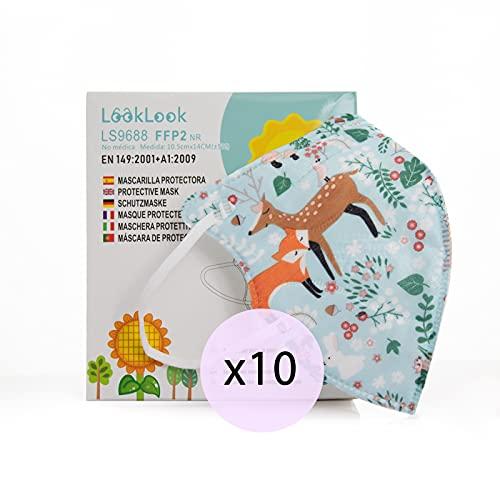 LOOKLOOK Zertifizierte CE FFP2-Masken. Atmungsaktiv, Einweg. 5 Schichten. Kleine Größe. Packen Sie 10 Einheiten (C11)