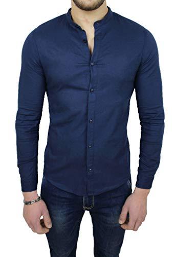 Camicia Uomo Sartoriale in Lino Blu Scuro Casual Estiva Slim Fit (XL)
