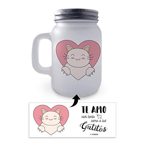 Kadoo Regalos Jarra de Cristal con Tapa y Pajita San Valentín Amor...
