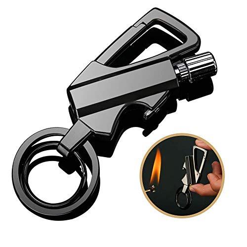 EDAHBJNEST5MK Mechero de Gasolina Partido de Metal Encendedor, Encendedor de Fuego, Llavero y abrebotellas, Camping Match, Partidos eternos, Partidos permanentes (Black)