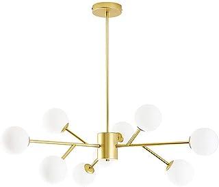 Candelabro moderno Sputnik, lámpara colgante ajustable de latón satinado de 9 luces, luz de techo/esfera de cristal, lámpara de techo Mid-Century con rama, dormitorio dorado de 9 cabezas