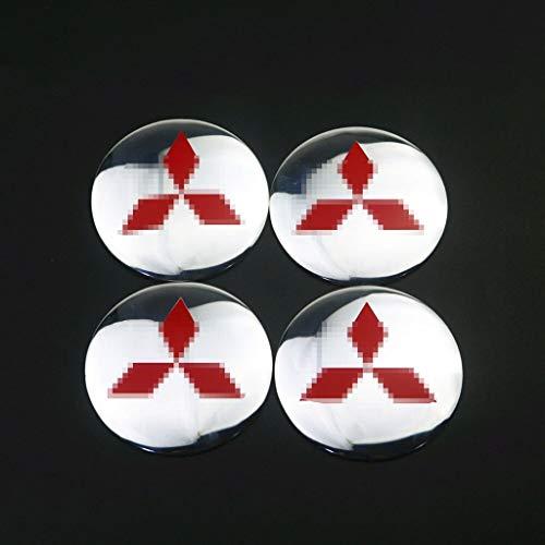 Coche Llanta centro 4pcs Accesorios para automóviles 3D Neumático Rueda Centro Centro Hub Caps Etiqueta Calcomanías Adecuado para Mitsubishi Asx Lancer Pajero 4 Outlander 3 XL L200 Tapacubos