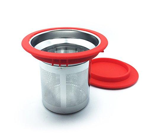 DoubleVillages Tè Infusore Te Infusore / Tè filtro / Te filtro /Tea infuser /Colino da tè Per la Tazza,Mug / Per il Tè sfuso / sfera di tè / tè colino / filtro del tè- Acciaio Inossidabile-Rosso