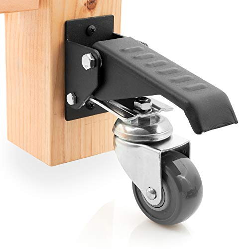 Workbench Caster kit 4 Heavy Duty Retractable Casters with Urethane Wheels Designed to Lift & Lower Workbenches Machinery & Tables 840 lb Total Weight Capacity