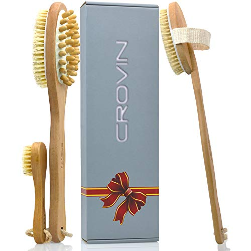 Crovin Dry Skin Body Brush Natural Boar Bristle Exfoliating Face Brush with Double-Side Long Handle Bath Brushes Back Cellulite Massager Scrub for Lymphatic Flows, Healthy Self-care