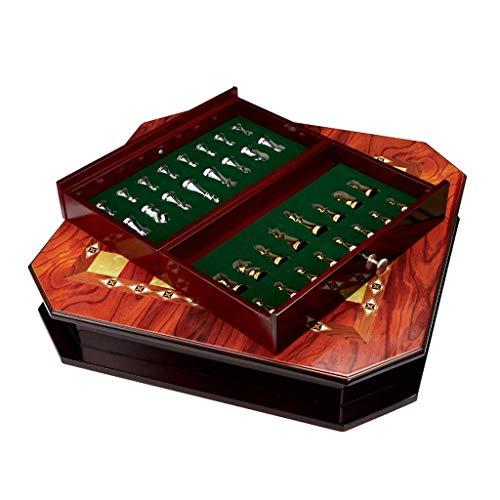 Juego de ajedrez Juego de ajedrez de Madera Maciza con cajón Piezas de ajedrez de Metal Brillante Juego de ajedrez Internacional Rey Altura 6.7cm Ajedrez (Tamaño: 40 * 55 * 13cm)
