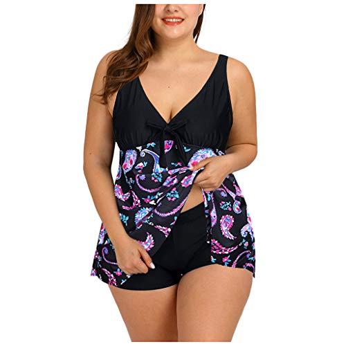 KPILP Womens Deep V Neck Swimsuit Plus Size Vintage Fashion Summer Swimwear Two Piece Tankini Set Ethnic Style Retro Bikini Swimming Costume Bathing SuitPurpleXL