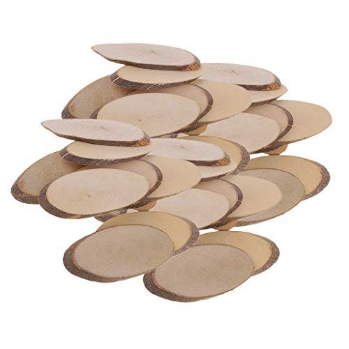 Fenteer 40 Piezas de Rebanadas de Troncos de Madera Ovalada Natural Etiqueta Elegante Pirograbado de de Boda