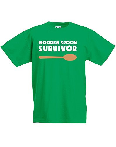 Wooden Spoon Survivor, Kids Printed T-Shirt - Kelly Green/White/Transfer 3-4 Years