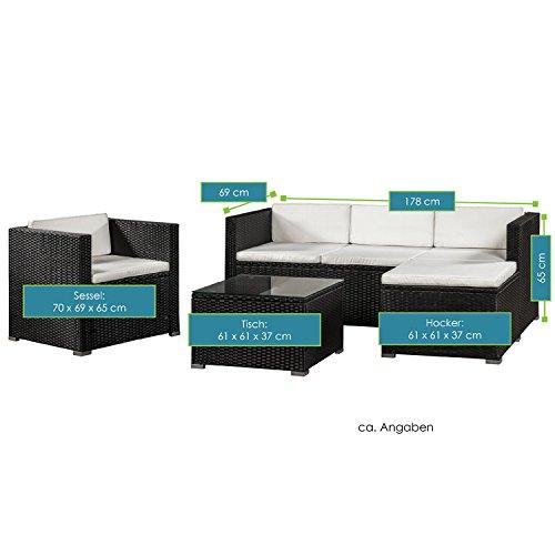 ArtLife Polyrattan Lounge Punta Cana L schwarz mit Bezügen in Creme | Gartenlounge mit Sofa, Sessel & Tisch für 4 – 5 Personen | Sitzgruppe - 7