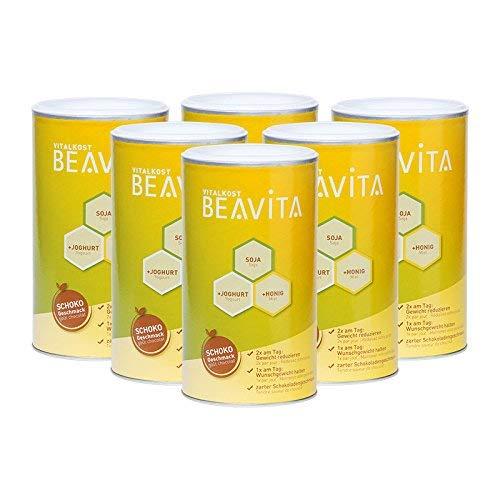 BEAVITA Vitalkost - 6x 500g Schoko Pulver - Eiweiß Diät Shake - 4 Wochen Vorratspaket mit Diätplan - Kalorien sparen & Gewicht reduzieren - Glutenfrei & Vegetarisch - nährstoffreicher Mahlzeitersatz