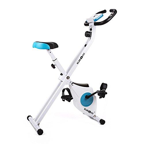 Klarfit Capital Sports Azura, Fahrrad-Heimtrainer, klappbar, 40x45cm Stellfläche, Belastbarkeit max.100kg, Fahrradtrainer mit Handpulsmesser, Trainingscomputer und ergonomischer Bauform, weiß