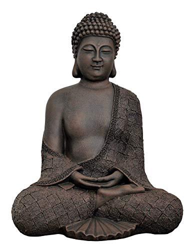 Tiefes Kunsthandwerk Buddha sitzend - Dunkelbraun, Figur Deko Stein Statue Garten Frostsicher