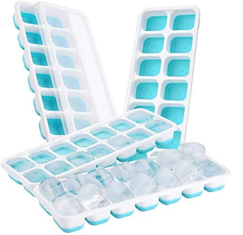 TOPELEK 14-Fach Eiswürfelform 4er Pack Silikon Eiswuerfel Mit Deckel Ice Tray Ice Cube, Kühl Aufbewahre