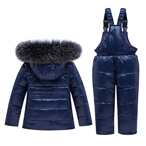 2 Piece Unisex Baby Winter Warm Snowsuit Hoodie Puffer Down Jacket with Snow Ski Bib Pants Outfits Black