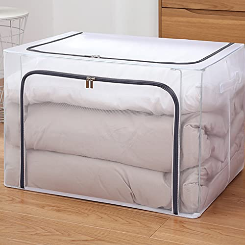 Duvet Storage Bag | Clothes Storage Organiser, 66L, Foldable Storage Bag with Handle, for Duvets, Blankets, Bedding(Grey- Net)