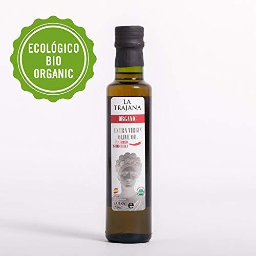 """La Trajana' Aceite de oliva virgen extra ecológico aromatizado Guindilla picante 250 ml Botella cristal transparente"