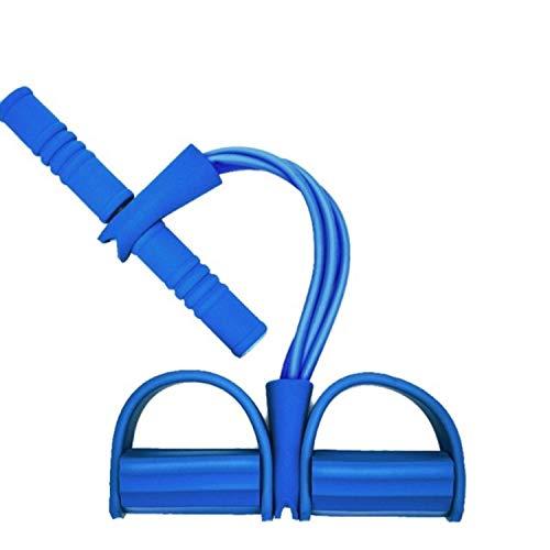 NGKWH Sit-ups Ziehen Seil, Multifunktionale Rallye Bauch Taille Arm Yoga Stretching Übung Abnehmen Training rutschfeste Fußpolster Latexschlauch Elastischer Schaumstoffgriff (Color : Blue)