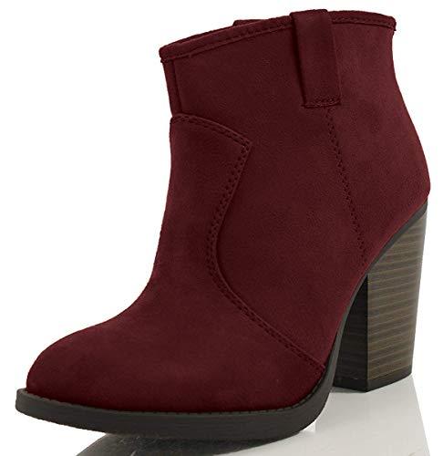 SODA Women's Albert Faux Suede Cowboy Pull-Tab Stacked Heels Ankle Booties, Black, 6.5 M US (Wine, 7 M)
