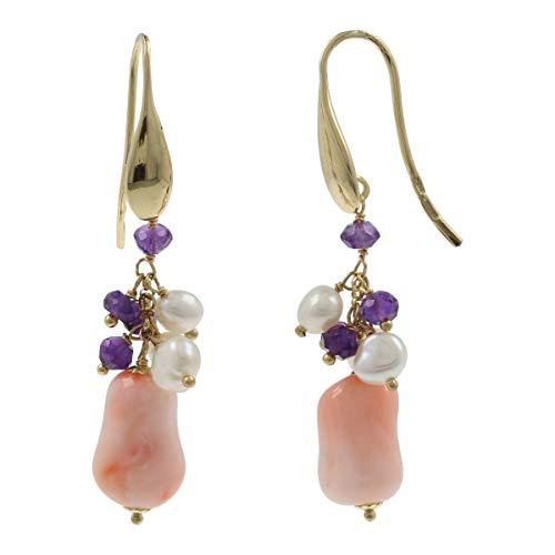 Gioiello Italiano - Pendientes de oro amarillo de 18 quilates con coral rosa y perlas naturales, 4,5x1,0 cm, para mujer