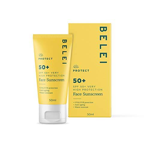Marchio Amazon - Belei - Crema solare per il viso, SPF 50+, UVA UVB, anti-invecchiamento, 50 ml