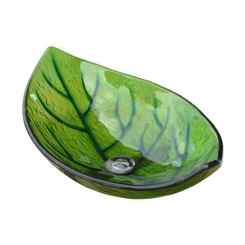 洗面ボウル 強化ガラス製 オンカウンタータイプ リーフ 幅56.5cm INK-0404045H