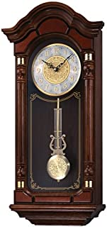 Seiko Stately Dark Brown Solid Oak Case Wall Clock with Pendulum and Chime