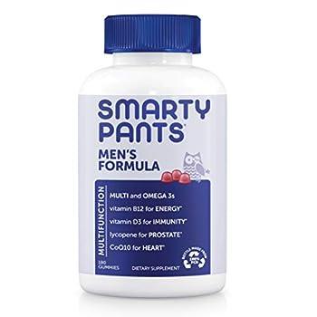 SmartyPants Men s Formula Daily Multivitamin for Men  Vitamins C D3 Zinc Omega 3 CoQ10 & B12 for Immune Support Energy Prostate & Heart Health Fruit Flavor 180 Gummies  30 Day Supply
