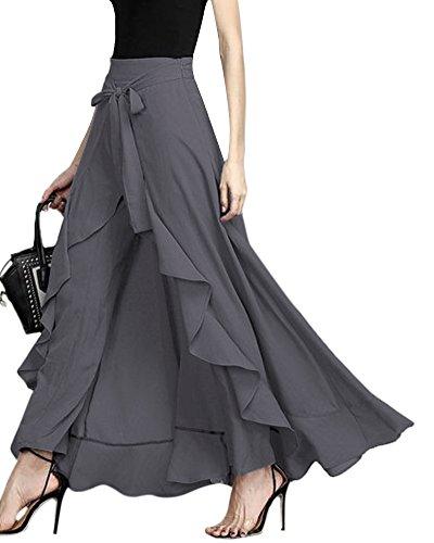 ShallGood ORANDESIGNE Damen Sommer Elegant Hosenrock Mode Hohe Taille Einfarbig Irregular Rüschen Freizeithose Yogahose Partykleid Lang (XX-Large, Grau)