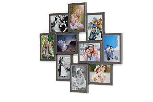 Artepoint Holz Fotogalerie für 10 Fotos 13x18 cm - 3D 1002 Bilderrahmen Bildergalerie Fotocollage Rahmenfarbe Grausilber
