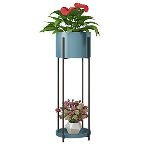 Fer Art Stand de Fleurs Moderne Simple Salon Étage Intérieur Pot De Fleur Porte Balcon Décoration Plantes Grasses Plante Plateau (Color : Blue, Size : 12.5×85×23cm)