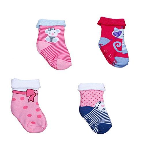 Babysocken Frottee ABS für Mädchen 4-er Set nice Gr. L = 23/25