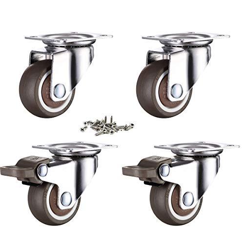 4 ruedas para muebles de 32 mm con tornillos, frenos de goma, pequeñas ruedas giratorias para muebles de palé (32 mm)