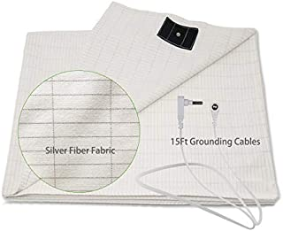 Earthing Sheet with Grounding Cord,Flat Sheet Earth Beds by Grounding Cotton Silver Conductive EMF Protection from Health