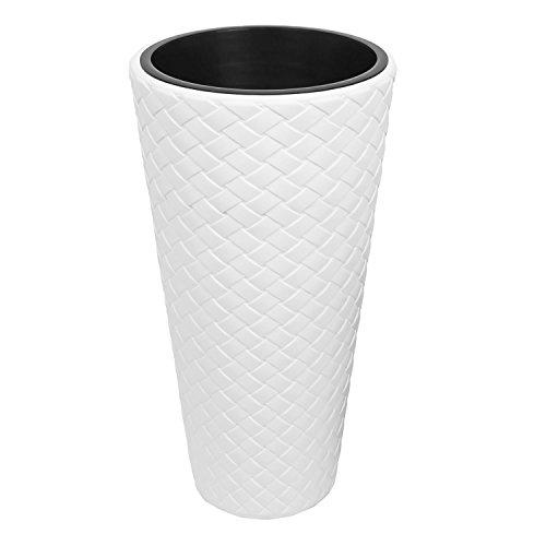 Vaso per piante Matuba Slim con inserto, altezza 78,5 cm, colore: bianco