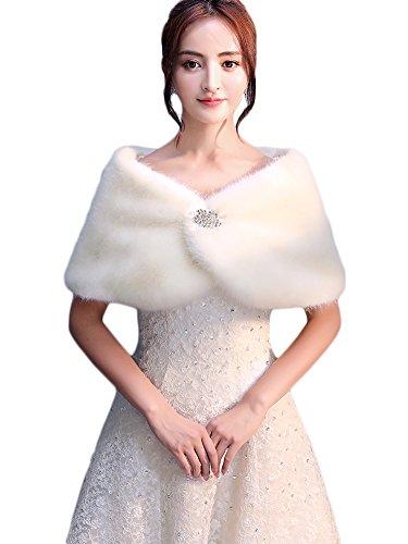 Icegrey Mujer Invierno Poncho Cape de Pelo Sintética...