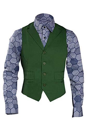 KoleGoe Halloween Joker Costume Hexagon Shirt Vest Tie (Large, Vest+Shirt)