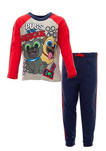 Disney Puppy Dog Pals Rolly Bingo Toddler Boys Fleece T-Shirt & Pants Set (2T, Heather Grey)