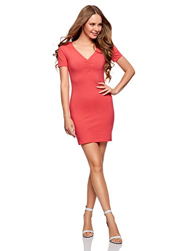 oodji Ultra Damen Enges Kleid mit V-Ausschnitt, Rosa, DE 36 / EU 38 / S