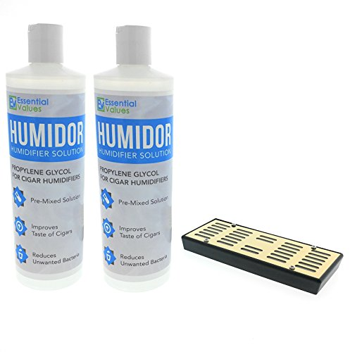 2PK Humidor Solution & Cigar Humidor Humidifier Combo, 16oz Propylene Glycol and Cigar Humidifier for 1-250 Cigars by Essential Values (Humidifier & 2 Pack Solution)