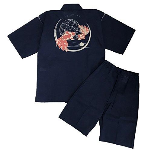 [江戸てん]甚平 しじら織り 抜染柄入り 糸・縫製・染色全て日本製 メンズ 濃紺5001DNV 七宝金魚 L