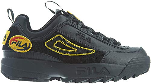 Fila Damen Sneaker Disruptor II Patches Sneakers, Black, 35 EU