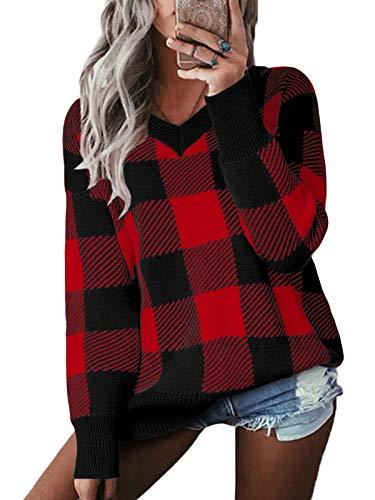 YOINS Pullover Damen Karo Sweatshirt Oberteile Strickpullover Farbblock Sweater V-Ausschnitt Jumper Langarmshirts Tops Hemd Shirt Kariert-Weinrot M