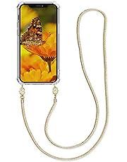kwmobile telefoonhoesje compatibel met Apple iPhone 12 Pro Max - Hoesje met koord in transparant/goud