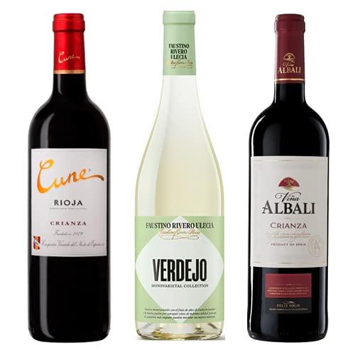 Vino para regalar - Caja de vino tinto y verdejo D.O I Cune Crianza, Faustino Verdejo, Viña Albali Crianza I Regalo Original