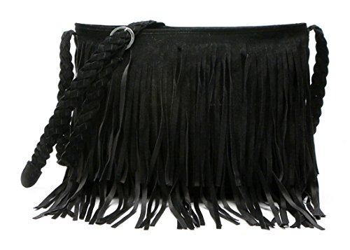 Aivtalk - Damen Fashion Fransentasche Handtasche Schultertasche Umhängetasche aus künstlichem Wildleder - Schwarz